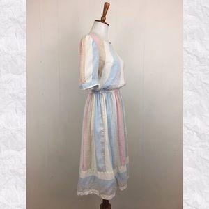 Vintage Dresses - Vintage 70's Striped Short Sleeve Day Dress